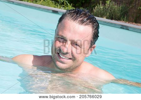 Handsome Forties Man In Private Pool Home In Vacation