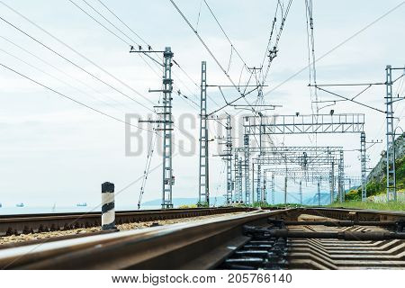 Railway Tracks With Electric Trains For Trains