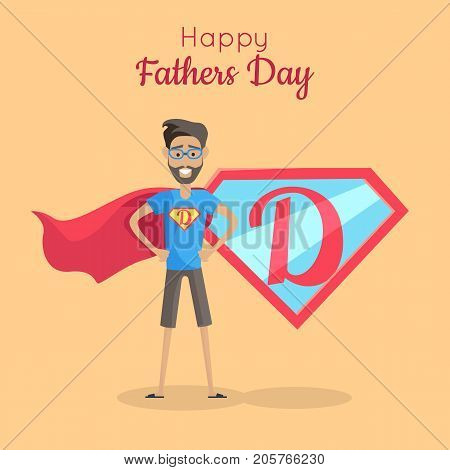 Happy Fathers day poster. Daddy super hero. Best parent in the world. Role model, greatest mentor. Part of series of fathers day celebration banners. Honoring dads. Fatherhood concept. Vector