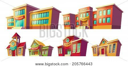 Set of vector cartoon illustrations of various color old, retro and modern educational institutions, schools isolated on white background. Template, design element, print.