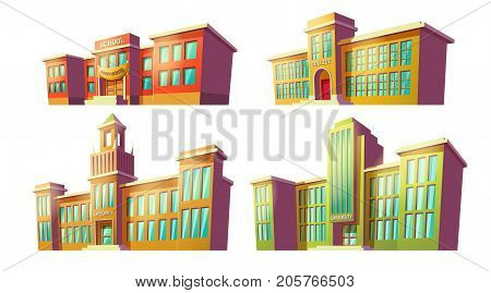 Set of vector cartoon illustrations of various color old, retro educational institutions, schools isolated on white background. Template, design element, print.