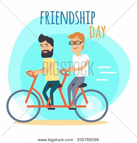 Friendship Day. Two best friends. One brunette with beads and other redhead in glasses, ride double bicycle on blue background with sign. Vector illustration of Friendship Day promotion poster.