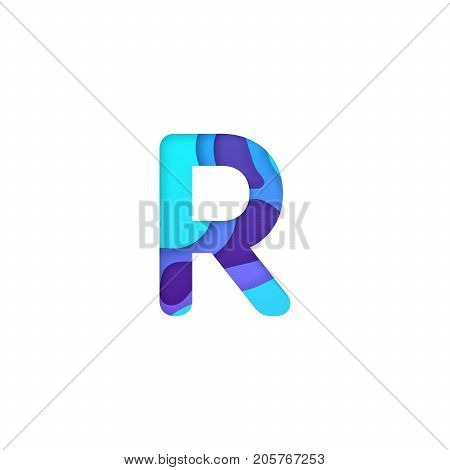 Realistic paper cut letter R. Turquoise and violet alphabet symbol isolated on white background. Paper letter textured with colorful diffuse layers. Carving craft object. Vector art illustration