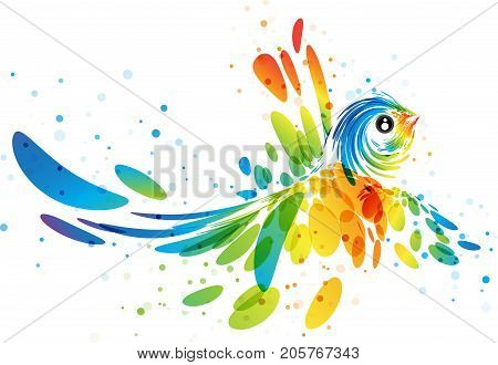 Abstract multicolored futuristic flying bird on white background vector illustration
