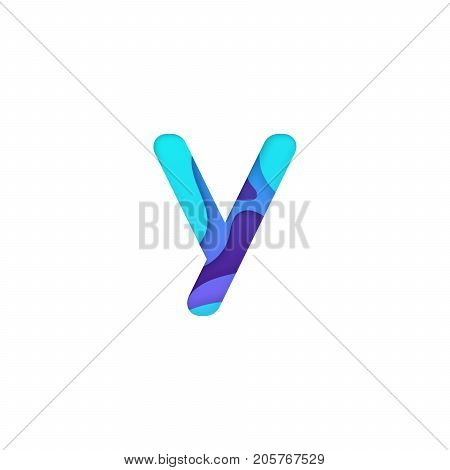 Realistic paper cut letter Y. Turquoise and violet alphabet symbol isolated on white background. Paper letter textured with colorful diffuse layers. Carving craft object. Vector art illustration