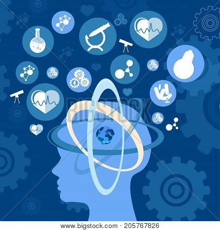 Human head thinking about science and earth. New futuristic ideas in circles around body top and our planet symbol inside vector poster
