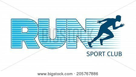 Running sportsman on white background. Vector illustration of strong man s body logo for sport club. Person moving rapidly on feet, because running is useful for health and fitness keeps fit
