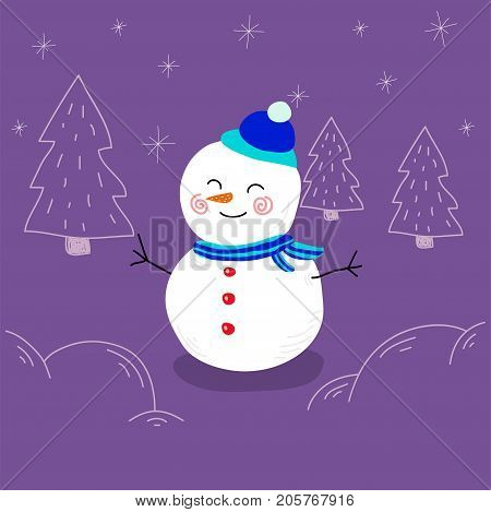 Snowman cute illustration for christmas and new year post card, textile kids prins, posters and any other design. cute little snowman stylized with head and neckerchief.