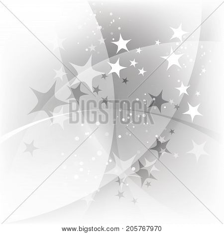 Gray abstract starry background, curve line, stars and snow