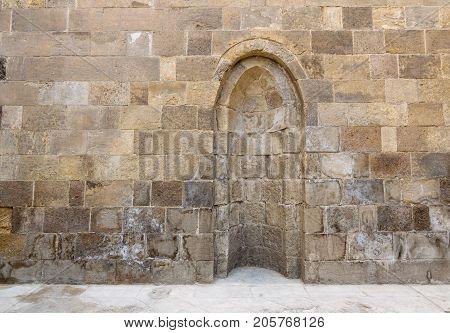 Stone wall with embedded niche Exterior wall of Mausoleum of al-Salih Nagm Ad-Din Ayyub Cairo Egypt