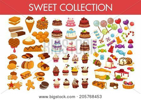 Sweet collection of delicious desserts and colorful candies isolated cartoon vector illustrations on white background. Crispy waffles, chocolate cookies, amazing cakes and tasty cupcakes with icing.