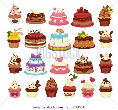 Amazing festive cakes and tasty cupcakes with natural chocolate and tender sweet cream of unusual design decorated with fruits isolated cartoon flat vector illustrations set on white background.