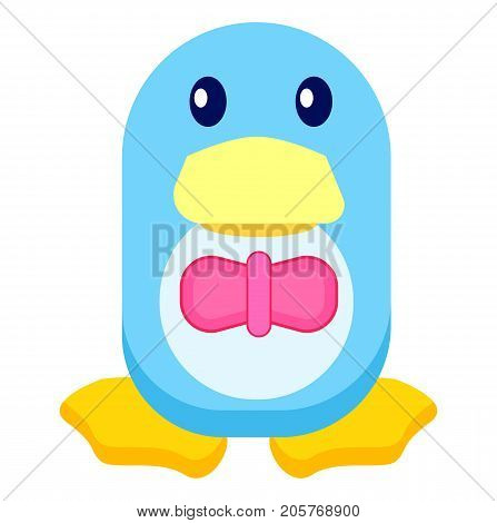 Adorable blue toy penguin in pink bowtie with big yellow beak and legs isolated vector illustration on white background.