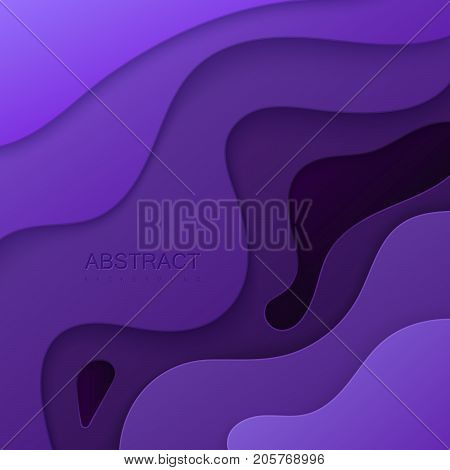 Violet paper cut background. Abstract realistic papercut decoration textured with cardboard diffusive layers. 3d topography relief. Carving art. Vector illustration. Material design template.
