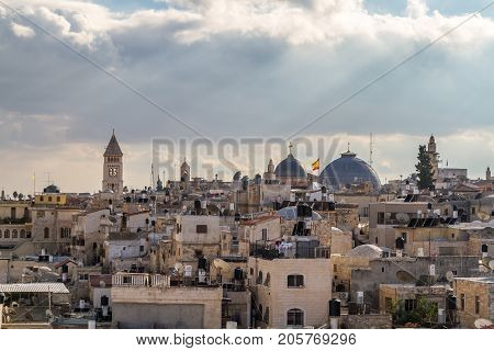 JERUSALEM, ISRAEL - DECEMBER 8: View of Jerusalem from the walls of the Old City of Jerusalem, Israel on December 8, 2016
