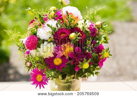 Autumn bouquet autumn flowers green background birthday bouquet