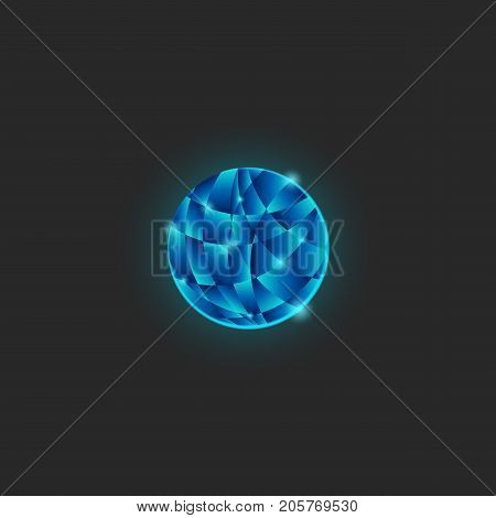 A Circle Of Logo Flakes Structure A Shiny Blue Gradient, A Glows Power Round Shape Of Intersecting P