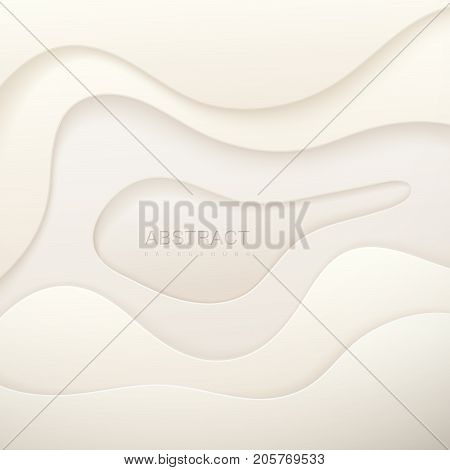 White paper cut background. Abstract realistic papercut decoration textured with curved wavy layers. 3d topography relief. Carving or origami art. Vector illustration. Material design cover template.