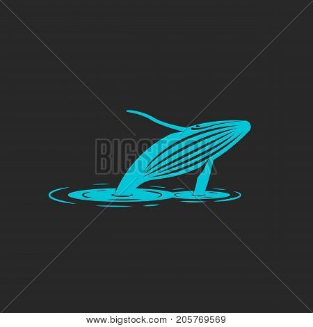 A humpback whale jump out of the water a silhouette of a blue whale with ripples on the water an illustration that characterizes the freedom of the animal. T-shirt print emblem or logo mockup for a naturally protective organization or foundation.