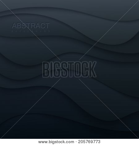 Black paper topography relief. Abstract paper cut background. Realistic papercut decoration textured with tiling wave layers. Carving art. Vector 3d illustration. Material design. Template for design