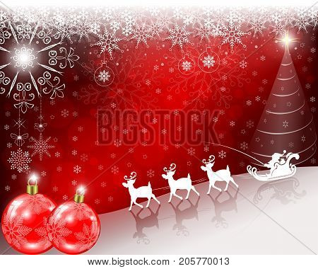 Christmas red, bright background with Santa Claus slowly riding on deer