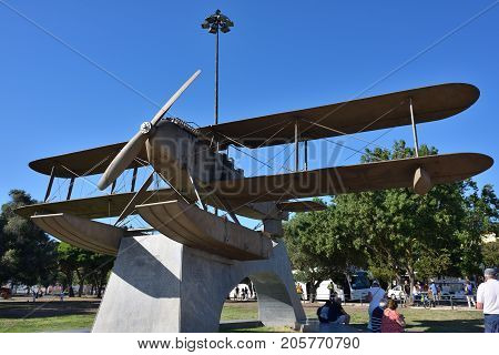 Monument To The First Flight Across The South Atlantic Belem Lisbon Portugal
