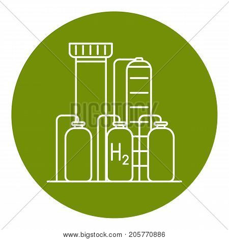 Hydrogen plant icon in thin line style. Renewable energy production symbol in round frame.