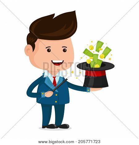 Businessman magician. A magic wand, a wizard's hat, Money notes and coins. Young happy businessman vector flat cartoon illustration character. isolated on white background. Financial success concept