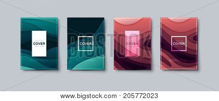 Abstract paper cut cover design. Vector creative illustration. A4 paper size posters textured with wavy paper layers. Party or business flyers template. 3d topography relief covers. Material design