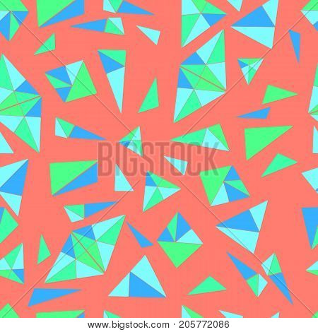 Bright, geometric pattern of many small triangles in blue color, psychedelic style, seamless pattern of triangles, coral background color. Graphic, geometric background.Vector hand drawn illustration.