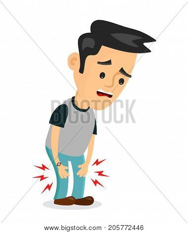 Pain in the legs problems.vector flat cartoon concept illustration of men character design icon. Isolated on white background. Pain in the knee, ache, hurt, suffering poster