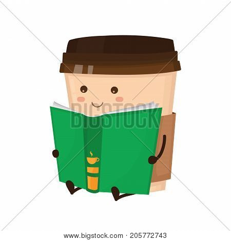 Coffee paper cup read book vector flat style cartoon fun character  illustration. Cute happy icon.  Take away coffee, cafe concept. Isolated on white background