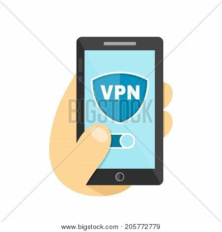 Hand hold smartphone with VPN app. Vector flat modern style illustration icon design. Isolated on white background. VPN protect safety internet wifi concept