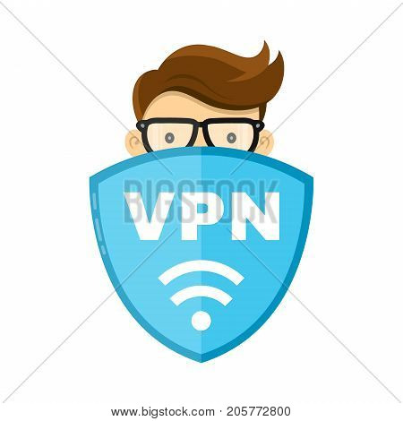 VPN protect safety concept. Man and save internet security wifi sign emblem shield. Vector flat modern style illustration character icon design. Isolated on white background