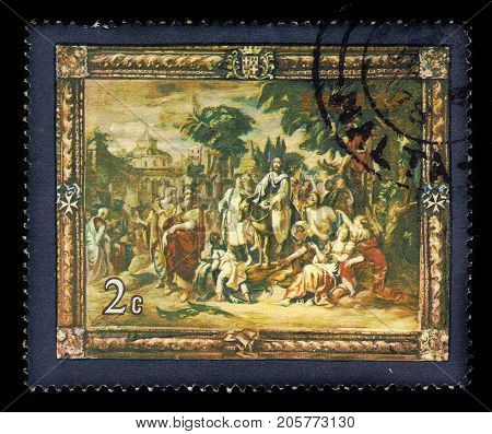 Malta - CIRCA 1978: A stamp printed in Malta shows Jesus' Entry into Jerusalem, flemish tapestries, circa 1978
