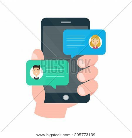 Man person chatting on cellphone with woman. Vector modern style cartoon character illustration avatar icon design. Chat messages notification on smartphone. Isolated on white background