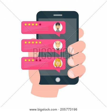Rate our app flat concept. Hand holds smartphone.Vector modern style cartoon character illustration avatar icon design.Review rating bubble speeches on mobile. notifications, feedback messages concept