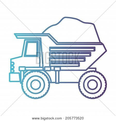 dump truck with rocks in gradient color silhouette from blue to purple vector illustration