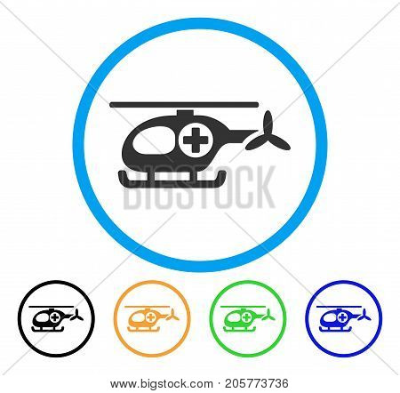 Ambulance Helicopter rounded icon. Style is a flat ambulance helicopter gray symbol inside light blue circle with black, yellow, green, blue color versions.