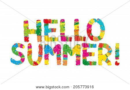 Hello summer color rainbow abstract lettering. handwritten inscription. Hand drawn lettering calligraphy. Hello summer card. Vector illustration. Isolated on white background. Kid, children,happy font