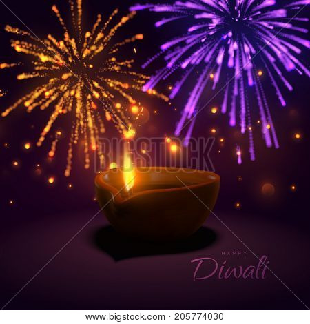 Happy Diwali. Indian festival of lights and fire. Vector hindu holiday illustration of oil lamp diya with flame and glittering fireworks sparkles. Deepavali religion event.