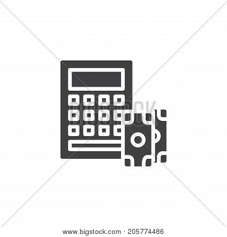 Calculator and dollar money icon vector, filled flat sign, solid pictogram isolated on white. Accounting symbol, logo illustration.