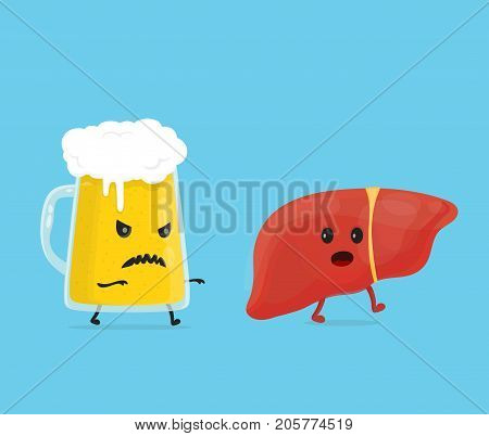 alcohol kill liver. Stop drink concept. glass of beer kill liver. Vector flat cartoon character illustration