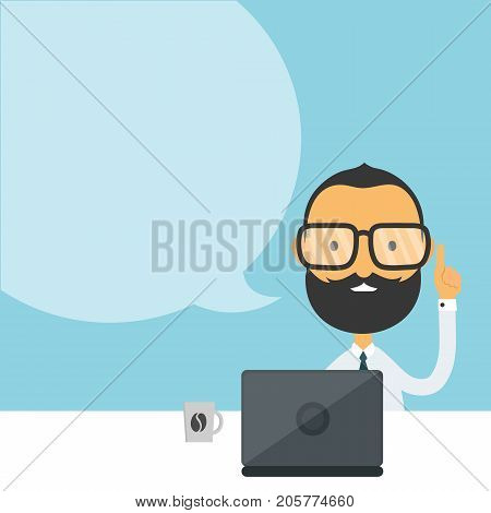 Handsome bearded young hipster businessman  holding up his finger sitting at the table and using laptop computer with speech bubble. vector flat cartoon man character illustration modern icon design