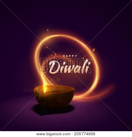 Happy Diwali. Indian festival of lights and fire. Vector hindu holiday illustration of wood oil lamp diya with flame and sparkles fire light stroke and mandala pattern. Deepavali religion event.