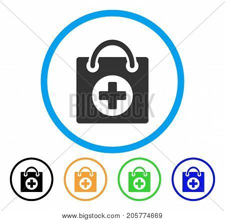 First Aid rounded icon. Style is a flat first aid grey symbol inside light blue circle with black, yellow, green, blue versions. Vector designed for web and software interfaces.