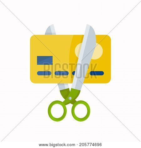 Scissors cut a credit card. isolated on white background.  vector flat cartoon illustration icon design. no credit, money, Bankrupt, bank. finance concept