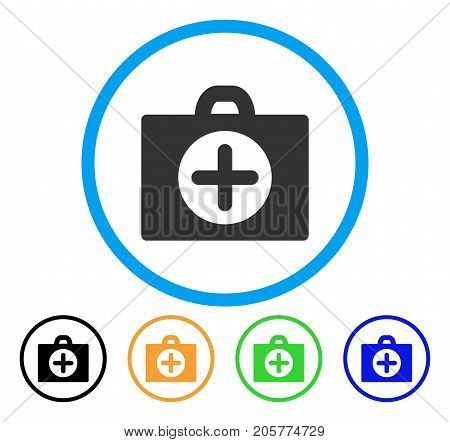 First Aid rounded icon. Style is a flat first aid gray symbol inside light blue circle with black, yellow, green, blue variants. Vector designed for web and software interfaces.