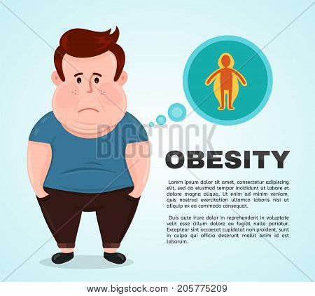 Vector flat illustration young man character with a obesity infographic icon. excess weight problem, fat, health care, unhealthy lifestyle concept design