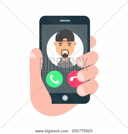 Incoming call on smartphone screen. One hand holds smartphone.Vector modern style cartoon character illustration icon avatar design. Male avatar.Calling technical support. Isolated on white background
